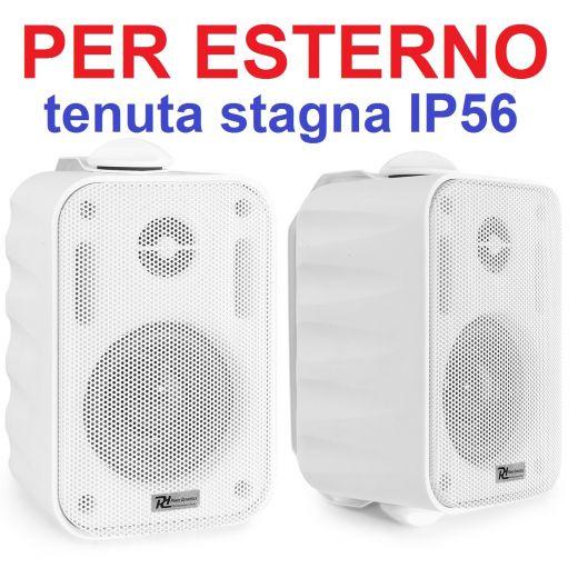 COPPIA DIFFUSORI 60W ALTOPARLANTI PARETE TENUTA STAGNA IP56 PER ESTERNO BIANCHE