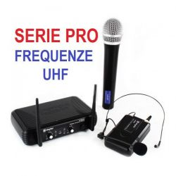 MICROFONI WIRELESS COMBO RADIO UHF SENZA FILI ARCHETTO GELATO palestra - 1