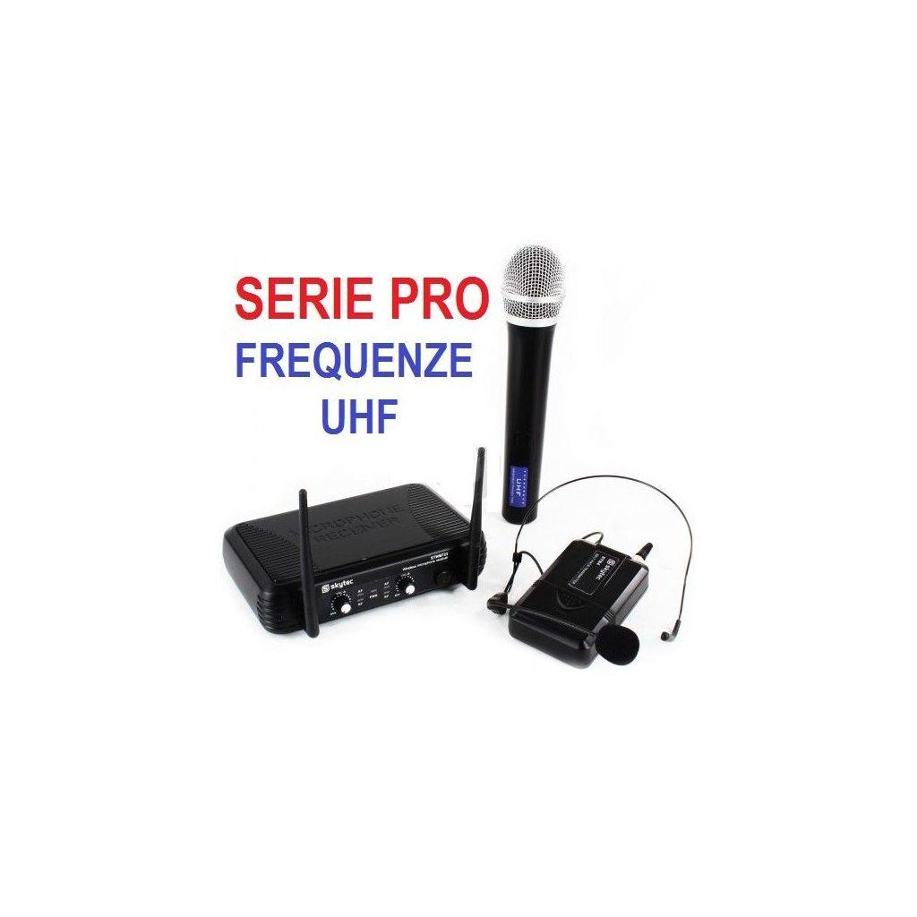 Radiomicrofoni Microfono Wireless Senza Fili UHF 4 Canali Archetto Karaoke Canto