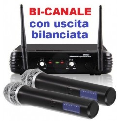 COPPIA MICROFONI WIRELESS VHF A BI CANALI frequenze VHF art 179183 - 1