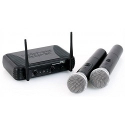 COPPIA MICROFONI WIRELESS VHF A 2 CANALI frequenze VHF art 179183