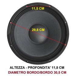 "WOOFER PROFESSIONALE 12"" 31 CM 8 OHM 300W art s-128 - 4"