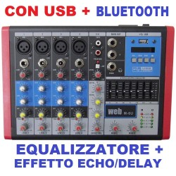 MIXER AUDIO PROFESSIONALE 6 CANALI BLUETOOTH USB DISPLAY EFFETTI DJ KARAOKE PIANOBAR - 1