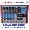MIXER AUDIO PROFESSIONALE 6 CANALI BLUETOOTH USB DISPLAY EFFETTI DJ KARAOKE PIANOBAR