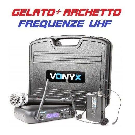 MICROFONI WIRELESS UHF CON DISPLAY COMBO GELATO + ARCHETTO art. 179203 - 1