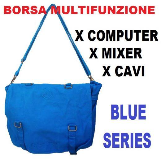 BORSA MULTIFUNZIONE TRACOLLA BLU PORTA COMPUTER PC MIXER CAVI CONNETTORI - 1