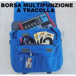 BORSA MULTIFUNZIONE TRACOLLA BLU PORTA COMPUTER PC MIXER CAVI CONNETTORI - 4