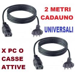 COPPIA (2 pezzi) CAVO ALIMENTAZIONE 2 MT. VDE C13 universale CASSA AMPLIFICATA ATTIVA CAVO COMPUTER FISSO - 1