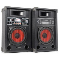 "COPPIA CASSE AMPLIFICATE KARAOKE DJ BLUETOOTH 600W USB-SD WOOFER 21 CM 8"" EQUALIZZATE"
