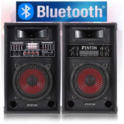 "COPPIA CASSE AMPLIFICATE KARAOKE DJ BLUETOOTH 600W USB-SD WOOFER 21 CM 8"" EQUALIZZATE - 1"