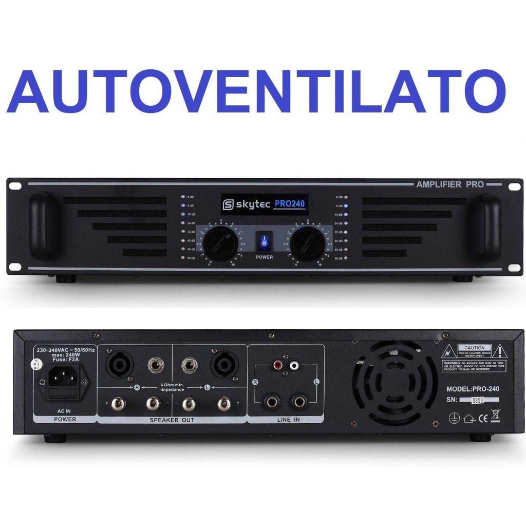 AMPLIFICATORE FINALE DI POTENZA PA PROFESSIONALE 240W VENTILATO A 2 CANALI DJ LIVE - 1