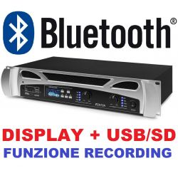"AMPLIFICATORE DJ PA FINALE DI POTENZA 300w RACK 19"" BLUETOOTH DISPLAY MP3 E RECORDING"