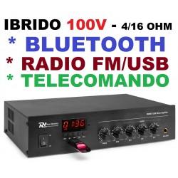 AMPLIFICATORE 100V IBRIDO 4-16 OHM FILODIFFUSIONE LINEA BLUETOOTH + RADIO + USB