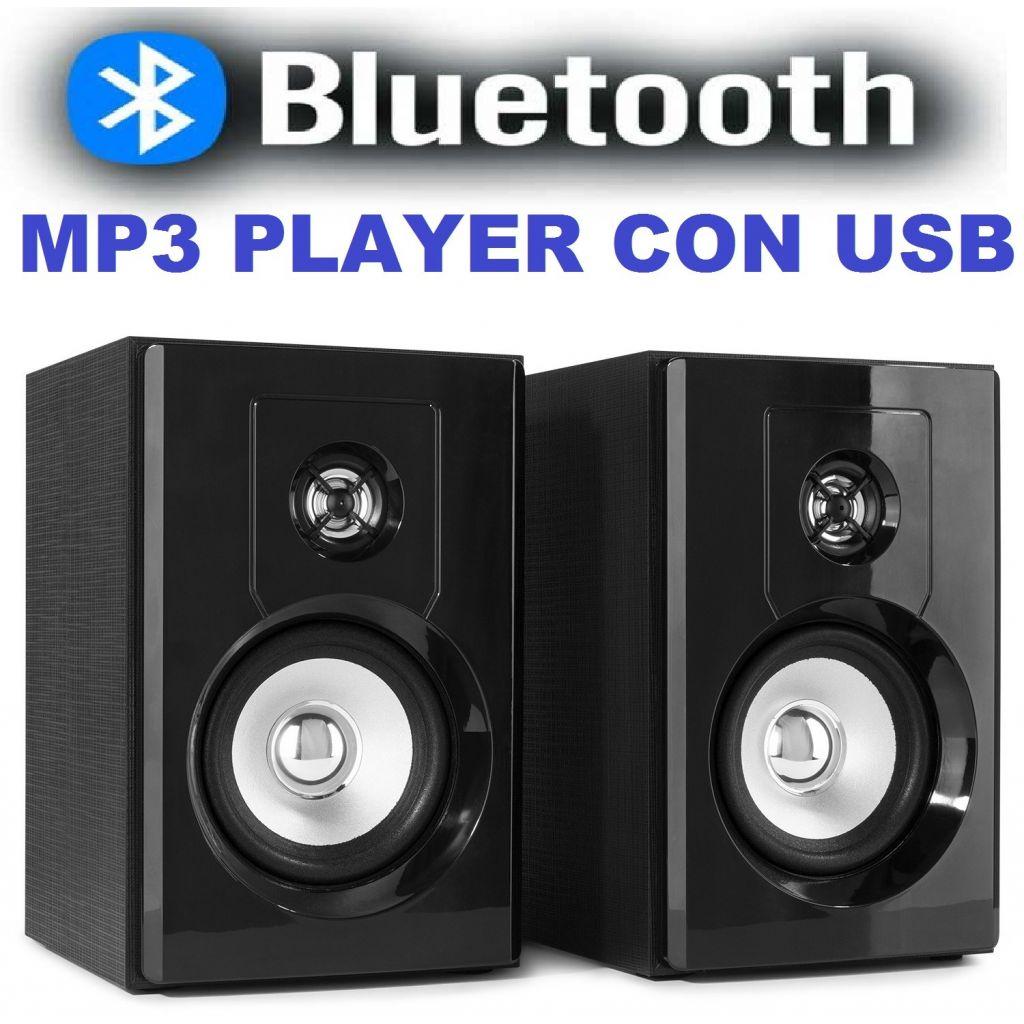 CASSE AMPLIFICATE BLUETOOTH ATTIVE HIFI MONITOR STUDIO SCAFFALE LIBRERIA USB - 1