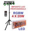 SET EFFETTI LUCE RGBW DJ PIANOBAR LIVE stativo + 4 effetti par led DMX - 1