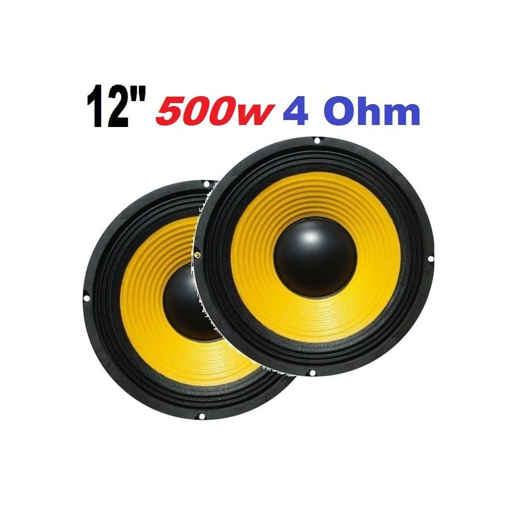"2 WOOFER ALTOPARLANTI SUB 500W 12"" (31 CM) 4 Ohm UNIVERSALI CASSE AMPLIFICATE - 1"