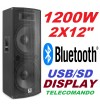 "CASSA AMPLIFICATA ATTIVA DJ 1200w 2x12"" BLUETOOTH DISPLAY TELECOMANDO - 1"