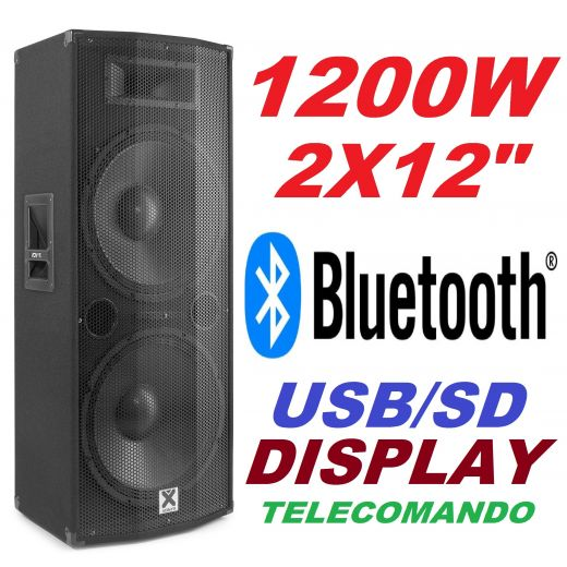 "CASSA AMPLIFICATA ATTIVA DJ 1200w 2x12"" BLUETOOTH DISPLAY TELECOMANDO"