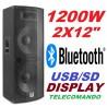 "CASSA AMPLIFICATA ATTIVA DJ 1200w 2x12"" BLUETOOTH DISPLAY TELECOMANDO - 1"