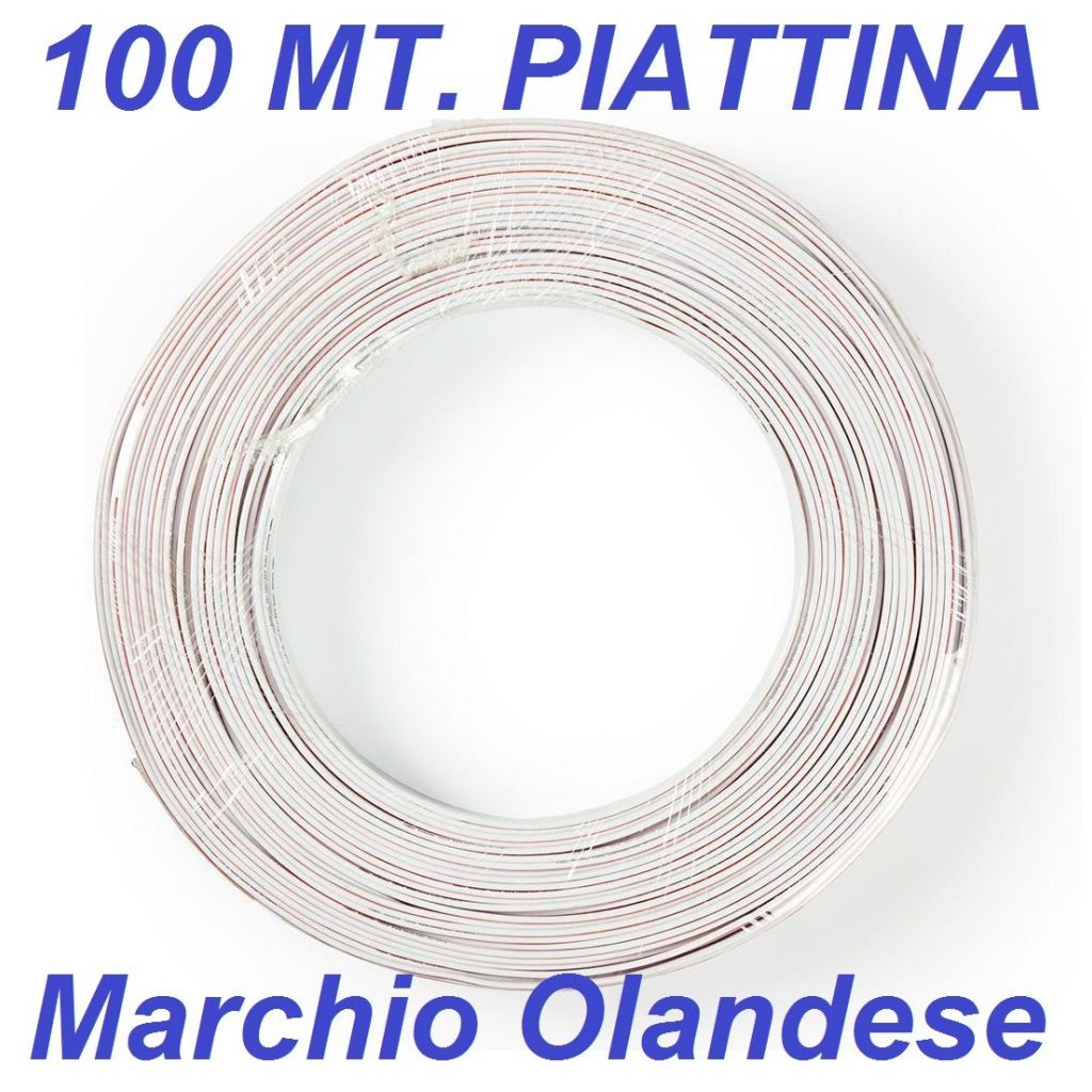 100 metri cavo piattina altoparlanti casse acustiche 2 x 0,35 mm