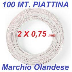 100 mt. matassa cavo audio piattina bianco sezione 2 x 0,75
