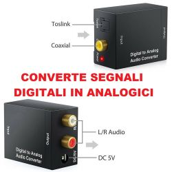CONVERTITORE AUDIO DA DIGITALE AD ANALOGICO RCA COASSIALE TOSLINK