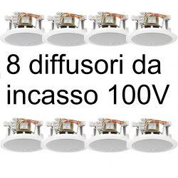 IMPIANTO AUDIO ATTIVO FILODIFFUSIONE 100V 8 altoparlanti incasso* locali pub market - 7