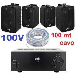 IMPIANTO AUDIO FILODIFFUSIONE PARETE 100V amplificatore + 4 altoparlanti + 100 mt cavo