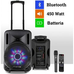 "CASSA AMPLIFICATA ATTIVA 450W 10"" BLUETOOTH + BATTERIA + MICROFONO WIRELESS + USB"