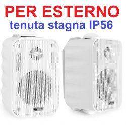 COPPIA DIFFUSORI 60W ALTOPARLANTI PARETE TENUTA STAGNA IP56 PER ESTERNO BIANCHE - 1