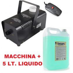 MACCHINA FUMO 400W TELECOMANDO 3 MT. + 5 TANICA LITRI LIQUIDO