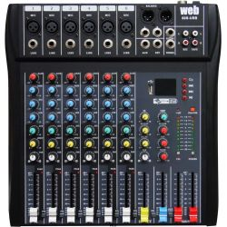 MIXER BLUETOOTH AUDIO 6 CH. KARAOKE DJ STUDIO EFFETTI USB DISPLAY DIGITALE
