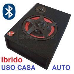 "SUBWOOFER AUTO CASSA AMPLIFICATA BT (ibrido) 150W 8"" SOTTOSEDILE COFANO CASA"