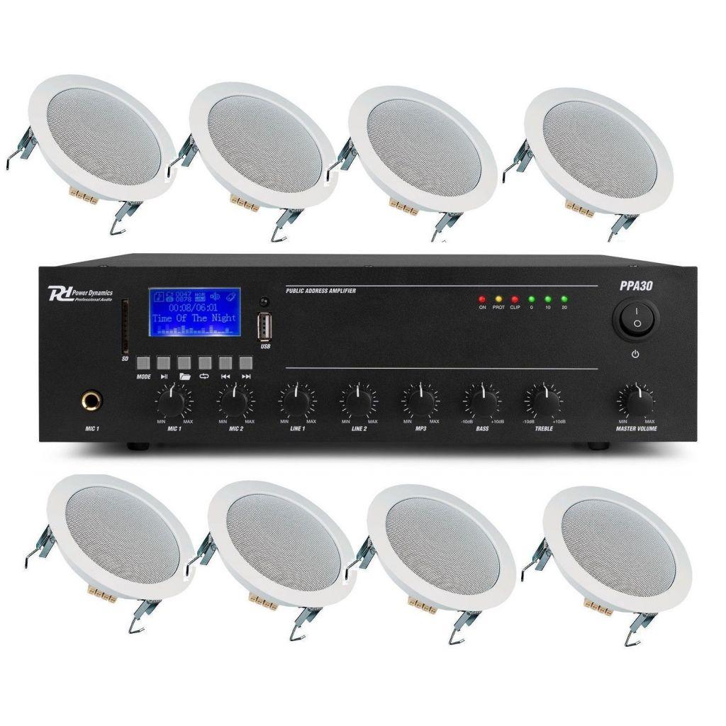 IMPIANTO AUDIO ATTIVO FILODIFFUSIONE 100V amplificatore + 8 altoparlanti incasso + matassa 100 mt.