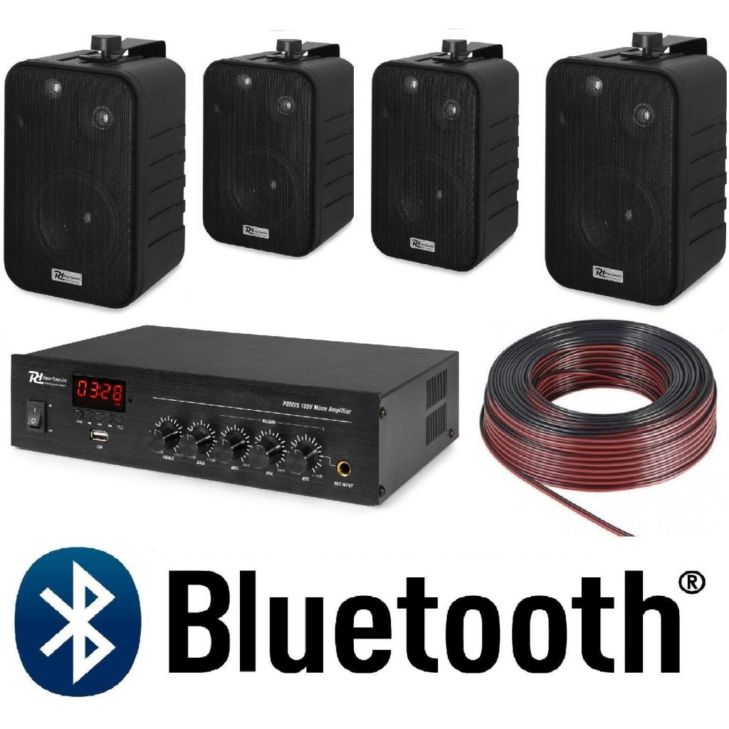 IMPIANTO AUDIO FILODIFFUSIONE PARETE NERE 100V amplificatore BT+ 4 altoparlanti + cavo