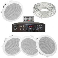 IMPIANTO AUDIO SISTEMA ATTIVO FILODIFFUSIONE 100V 1 amplificatore + 4 altoparlanti incasso + matassa 100 mt.