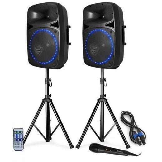 IMPIANTO AUDIO SISTEMA ATTIVO 800W casse amplificate + stativi + accessori