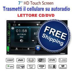 "AUTORADIO 2 DIN CON LETTORE CD DVD + MIRROR SCREEN 7"" TOUCH SCREEN BLUETOOTH"